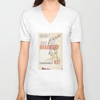 book cover V-neck T-shirts featuring Fahrenheit 451 Book Cover by proudcow