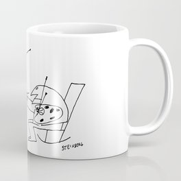 Saul Steinberg Man Painting Television, American Cartoonist Artwork Reproduction for Prints Posters Coffee Mug