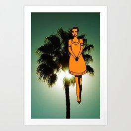 palm tree girl  Art Print