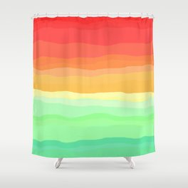 Rainbow - Cherry Red, Orange, Light Green Shower Curtain