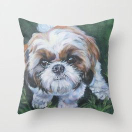 SHIH TZU dog art portrait from an original painting by L.A.Shepard Throw Pillow