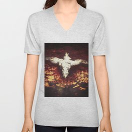 Fantasy artwork. Angel or Damon? Winged crature with crown. Unisex V-Neck