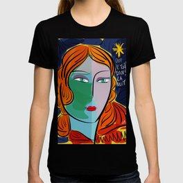Une étoile dans la nuit French Pop Girl Art Decoration T-shirt