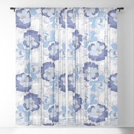 Blue Floral beauty Sheer Curtain