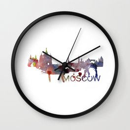 Moscow Skyline Watercolor Art Print Wall Clock