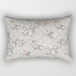Vintage chic artistic pink ivory polka dots floral Rectangular Pillow