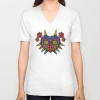 majora V-neck T-shirts featuring El Dia de la Majora by Marco Mottura - Mdk7