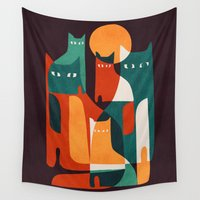 family Wall Tapestries featuring Cat Family by Picomodi