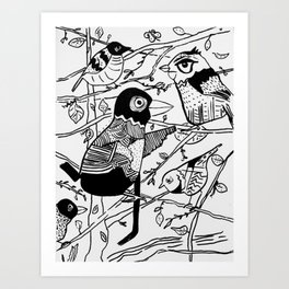 Crazy Birds illustration Art Print