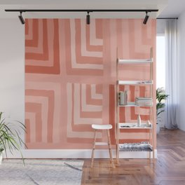 Painted Color Block Squares in Peach Wall Mural
