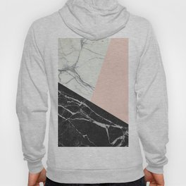 Black and White Marble with Pantone Pale Dogwood Hoody