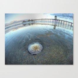Chris Harsh Photos * A Low Tide Sand Dollar * Huntington Beach Pier  Canvas Print