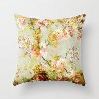 climbing Throw Pillows featuring climbing flowers by clemm