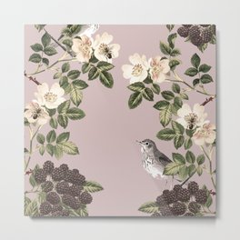 Birds and the Bees Pink Berry Metal Print