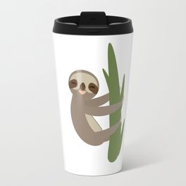 Three-toed sloth on green branch on white background Travel Mug