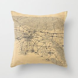 Map of Los Angeles and the San Gabriel Mountains (1915) Throw Pillow