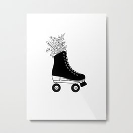Black and White Botanical Floral Bouquet Roller Skate Metal Print