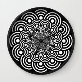 Black and White Geometric Japanese Circles Art Deco Print Wall Clock