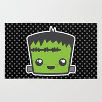 frankenstein Area & Throw Rugs featuring Kawaii Frankenstein by Sparkle&Glitter