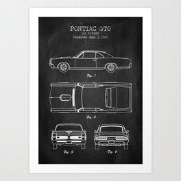 Pontiac GTO patent print. Pontiac GTO chalkboard poster Art Print