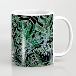 Tropical Night Palm Monstera Garden Coffee Mug