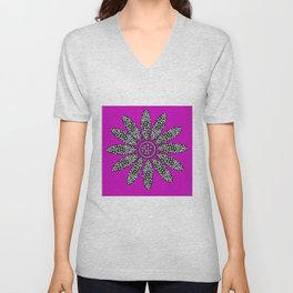 Daisy dots purple Unisex V-Neck
