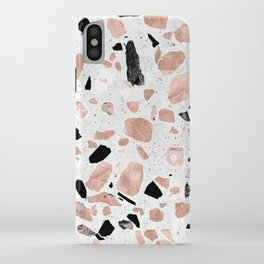 Classy rose gold vintage marble abstract terrazzo design iPhone Case