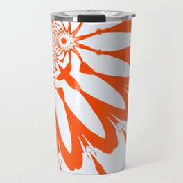 The Modern Flower White & Orange Travel Mug