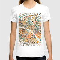 paris map T-shirts featuring Paris mosaic map #3 by Map Map Maps