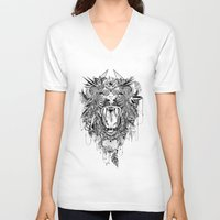 lion V-neck T-shirts featuring Lion by Feline Zegers