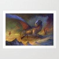 dragons Art Prints featuring Dragons by Oscar el bardo