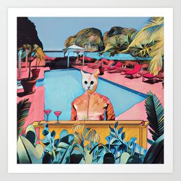 Kitty pool Art Print