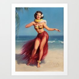 Hula Girl Vintage Pin Up Art Art Print