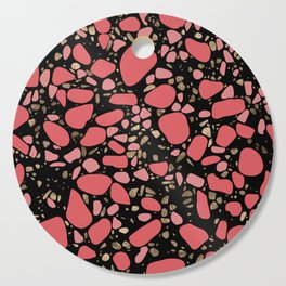 Terrazzo - Mosaic - living coral and gold on black Cutting Board