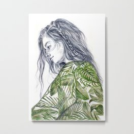 Tropical Palm Print Portrait Metal Print