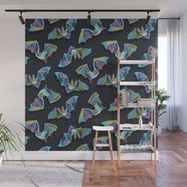 Psychedelic Bats on Black Wall Mural