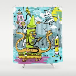 The Great Doodle Warriors Shower Curtain