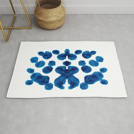 Dark Blue Colorful Inkblot Pattern Rug