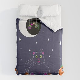 Grey Kitty under a Starry Sky Comforters