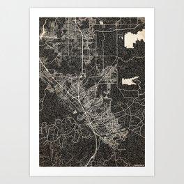 Temecula map California Ink lines 2 Art Print