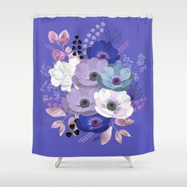 Anemones & Gardenia Blue bouquet Shower Curtain
