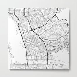 Chula Vista Map, USA - Black and White Metal Print