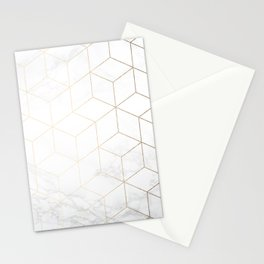Gold Geometric White Mable Cubes Stationery Cards