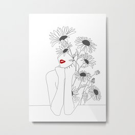Minimal Line Art Girl with Sunflowers Metal Print