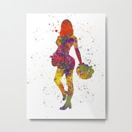 young woman Cheerleader Art Girl Poms Dance in watercolor 10 Metal Print