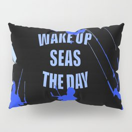 Wake Up Seas The Day Kiteboarder Royal Blue Pillow Sham