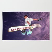 snowboarding Area & Throw Rugs featuring Snowboarding #2 by Bruce Stanfield