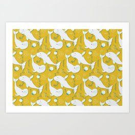 Beluga Whale Mustard #homedecor Art Print