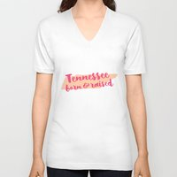 tennessee V-neck T-shirts featuring Tennessee Born And Raised by Allyson Johnson