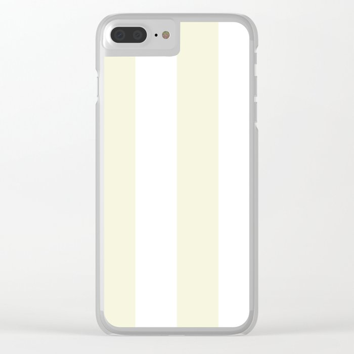 Wide Vertical Stripes - White and Beige Clear iPhone Case